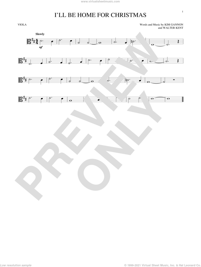 I'll Be Home For Christmas sheet music for viola solo by Bing Crosby, Kim Gannon and Walter Kent, intermediate skill level