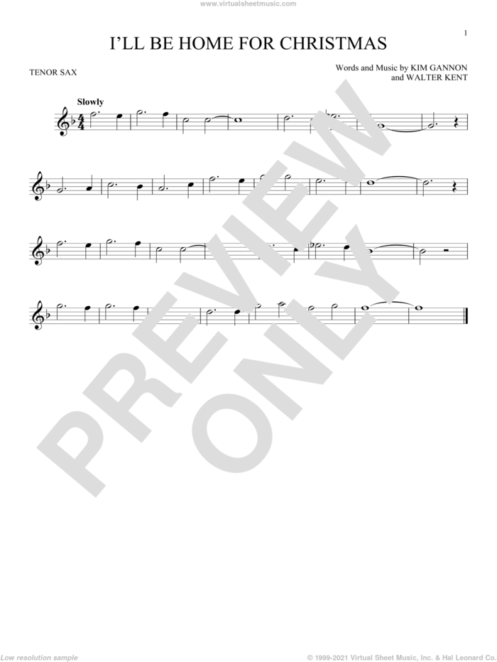 I'll Be Home For Christmas sheet music for tenor saxophone solo by Bing Crosby, Kim Gannon and Walter Kent, intermediate skill level