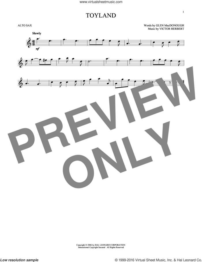 Toyland sheet music for alto saxophone solo by Victor Herbert and Glen MacDonough, intermediate skill level