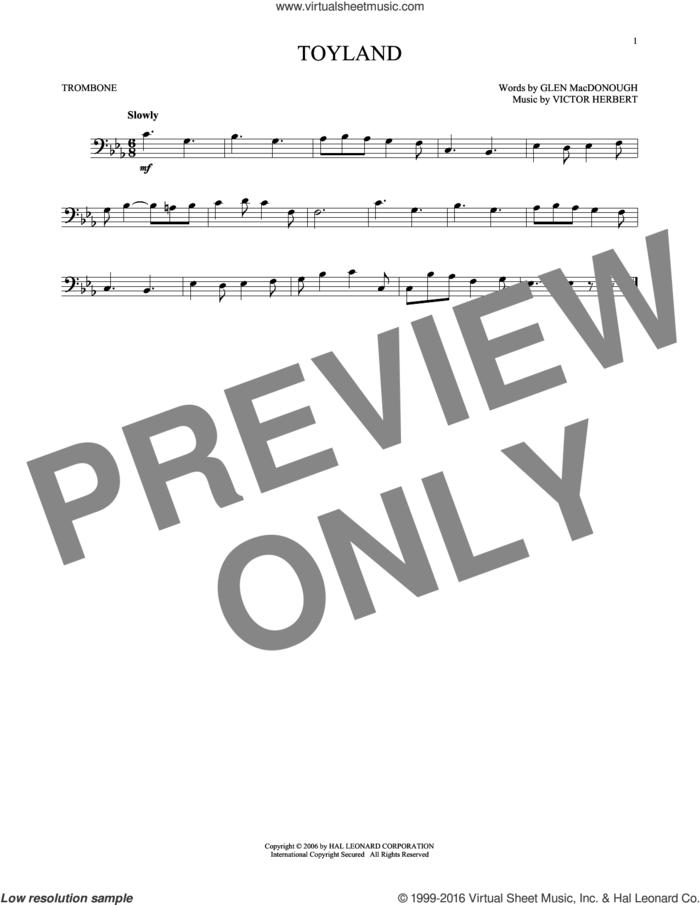 Toyland sheet music for trombone solo by Victor Herbert and Glen MacDonough, intermediate skill level