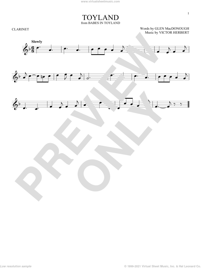 Toyland sheet music for clarinet solo by Victor Herbert and Glen MacDonough, intermediate skill level