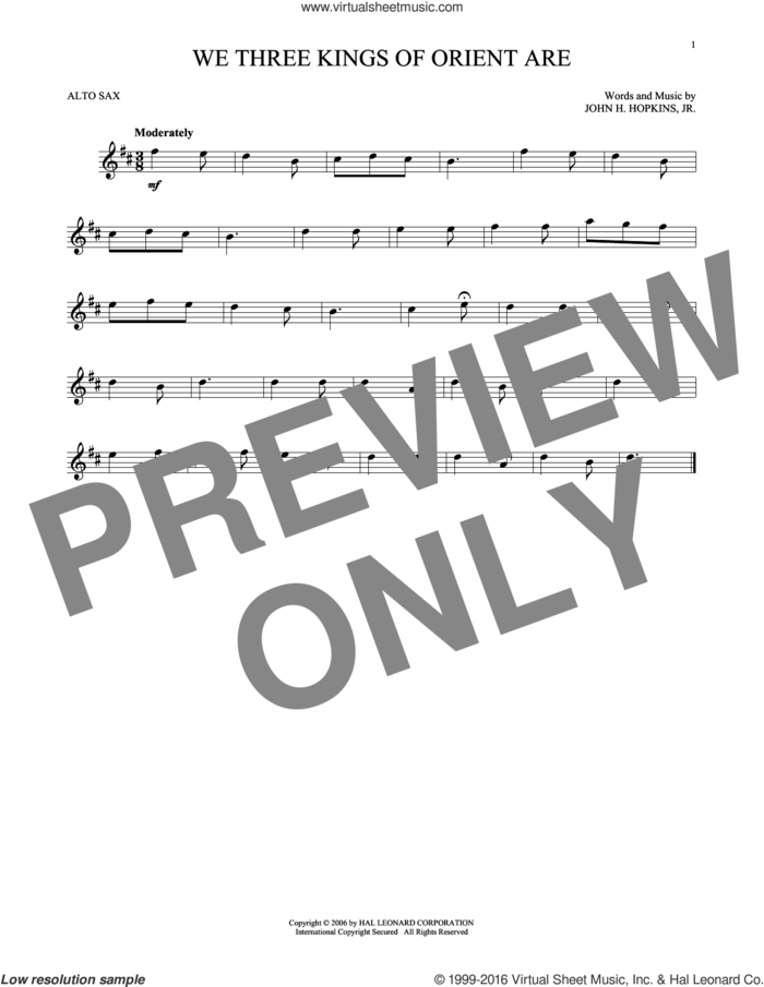 We Three Kings Of Orient Are sheet music for alto saxophone solo by John H. Hopkins, Jr., intermediate skill level