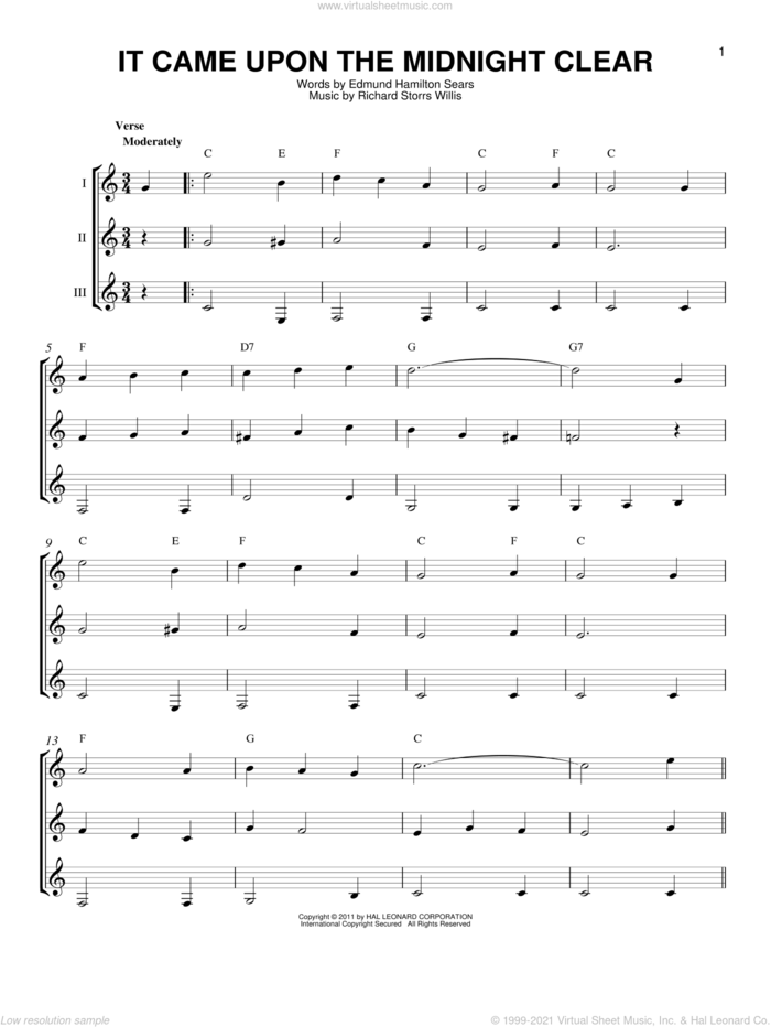 It Came Upon The Midnight Clear sheet music for guitar ensemble by Richard Storrs Willis and Edmund Hamilton Sears, intermediate skill level