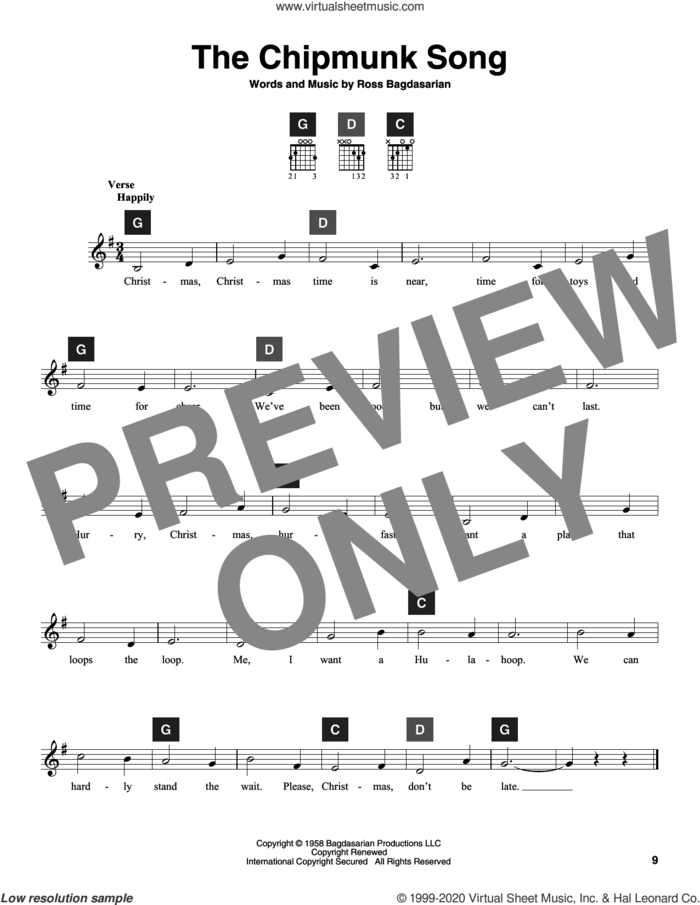 The Chipmunk Song sheet music for guitar solo (ChordBuddy system) by Alvin And The Chipmunks, The Chipmunks, Travis Perry and Ross Bagdasarian, intermediate guitar (ChordBuddy system)