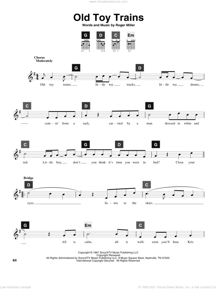 Old Toy Trains sheet music for guitar solo (ChordBuddy system) by Roger Miller and Travis Perry, intermediate guitar (ChordBuddy system)