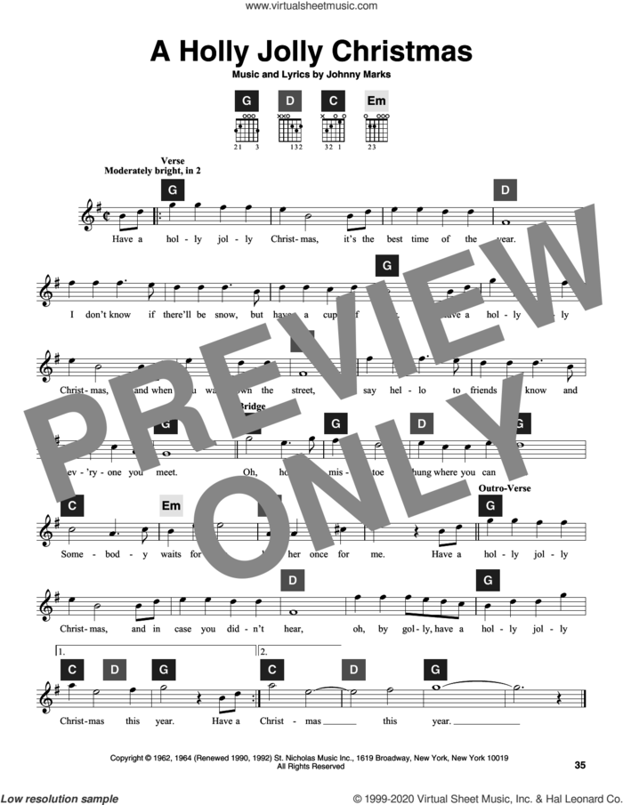 A Holly Jolly Christmas sheet music for guitar solo (ChordBuddy system) by Johnny Marks and Travis Perry, intermediate guitar (ChordBuddy system)