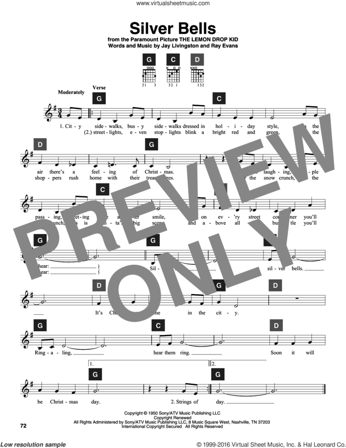 Silver Bells sheet music for guitar solo (ChordBuddy system) by Jay Livingston, Jay Livingston & Ray Evans and Ray Evans, intermediate guitar (ChordBuddy system)