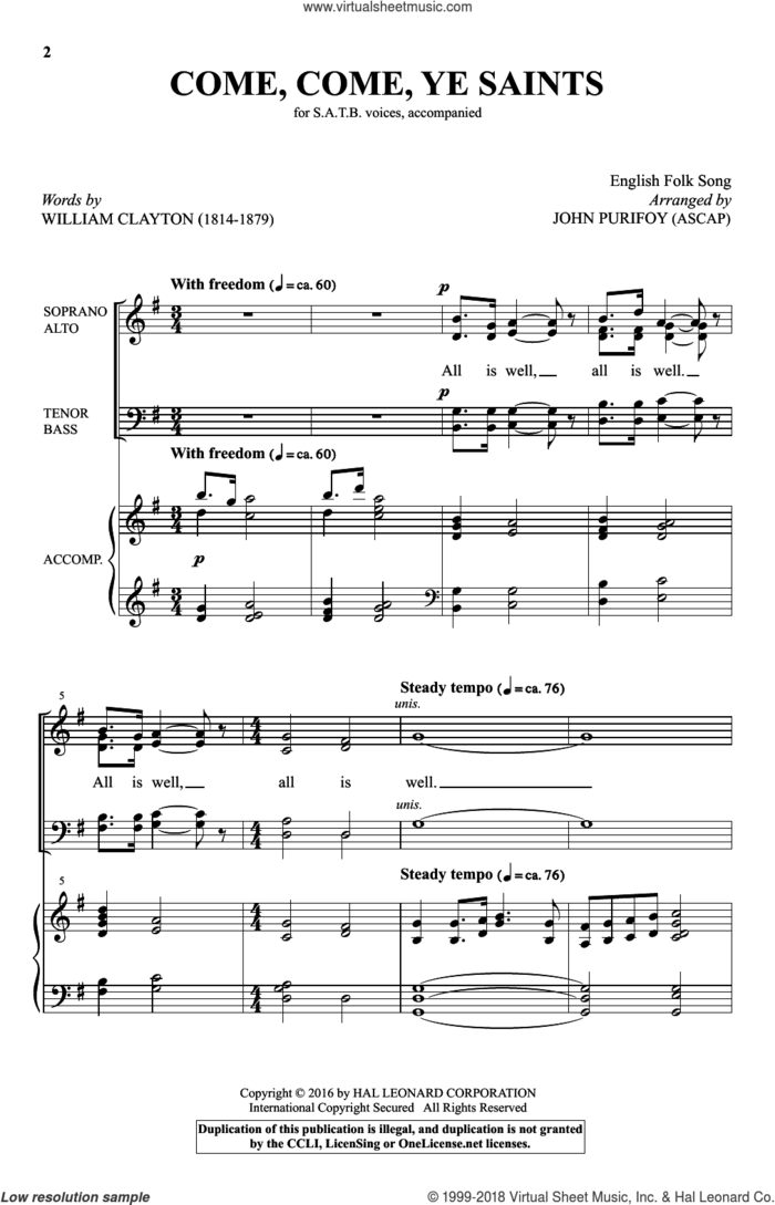 Come, Come, Ye Saints sheet music for choir (SATB: soprano, alto, tenor, bass) by William Clayton, John Purifoy and Miscellaneous, intermediate skill level
