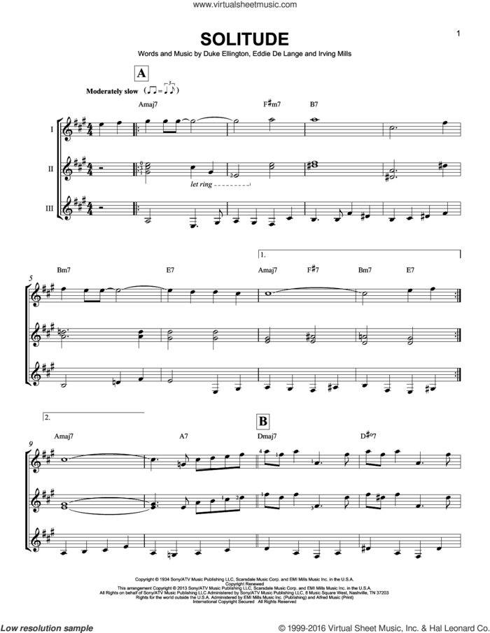 Solitude sheet music for guitar ensemble by Duke Ellington, Eddie DeLange and Irving Mills, intermediate skill level