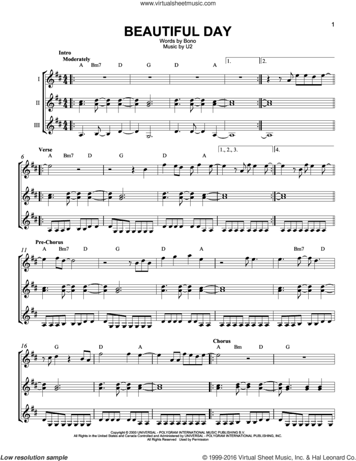 Beautiful Day sheet music for guitar ensemble by U2, Lee DeWyze and Bono, intermediate skill level
