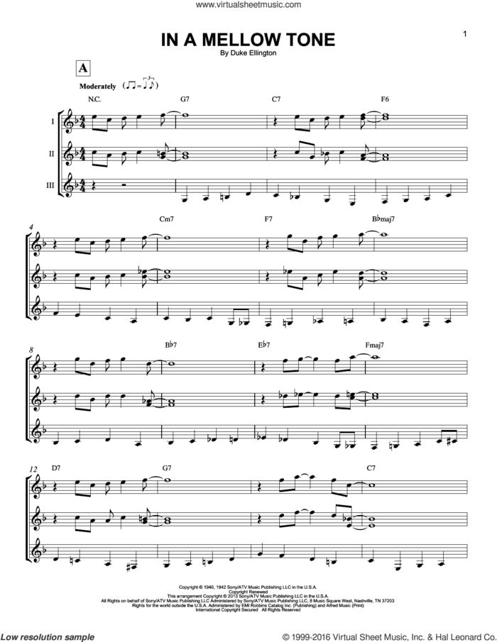 In A Mellow Tone sheet music for guitar ensemble by Duke Ellington and MILT GABLER, intermediate skill level