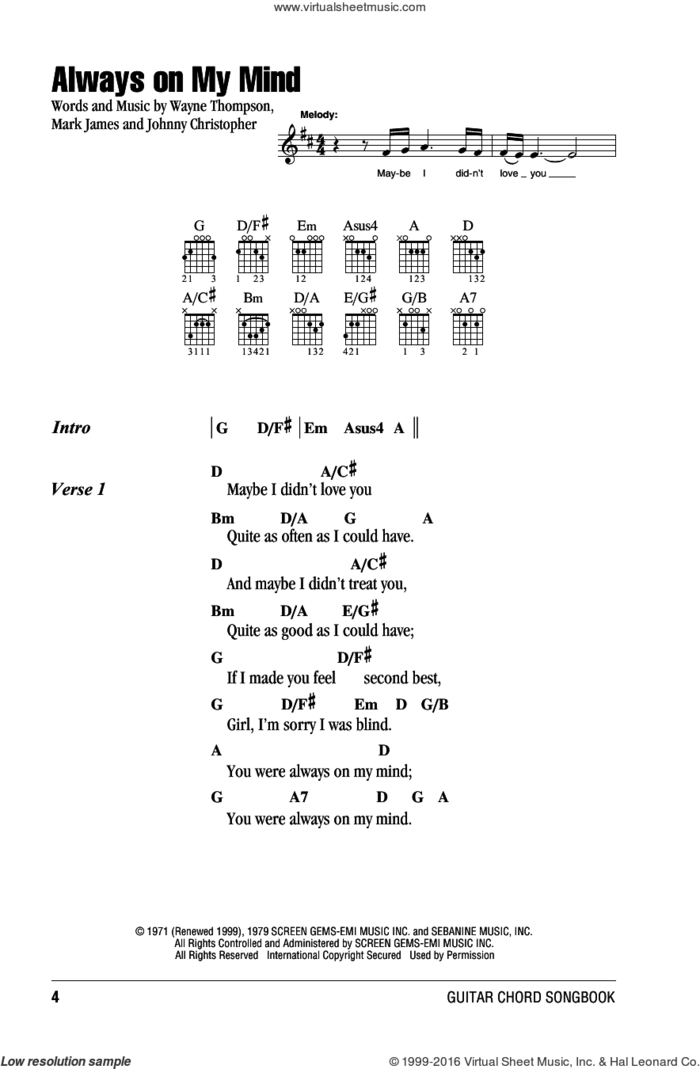 Always On My Mind sheet music for guitar (chords) by Willie Nelson, Elvis Presley, Michael Buble, The Pet Shop Boys, Johnny Christopher, Mark James and Wayne Thompson, intermediate skill level