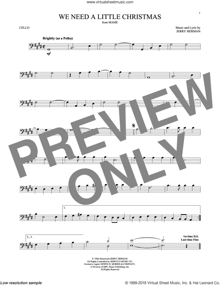 We Need A Little Christmas sheet music for cello solo by Jerry Herman and Kimberley Locke, intermediate skill level