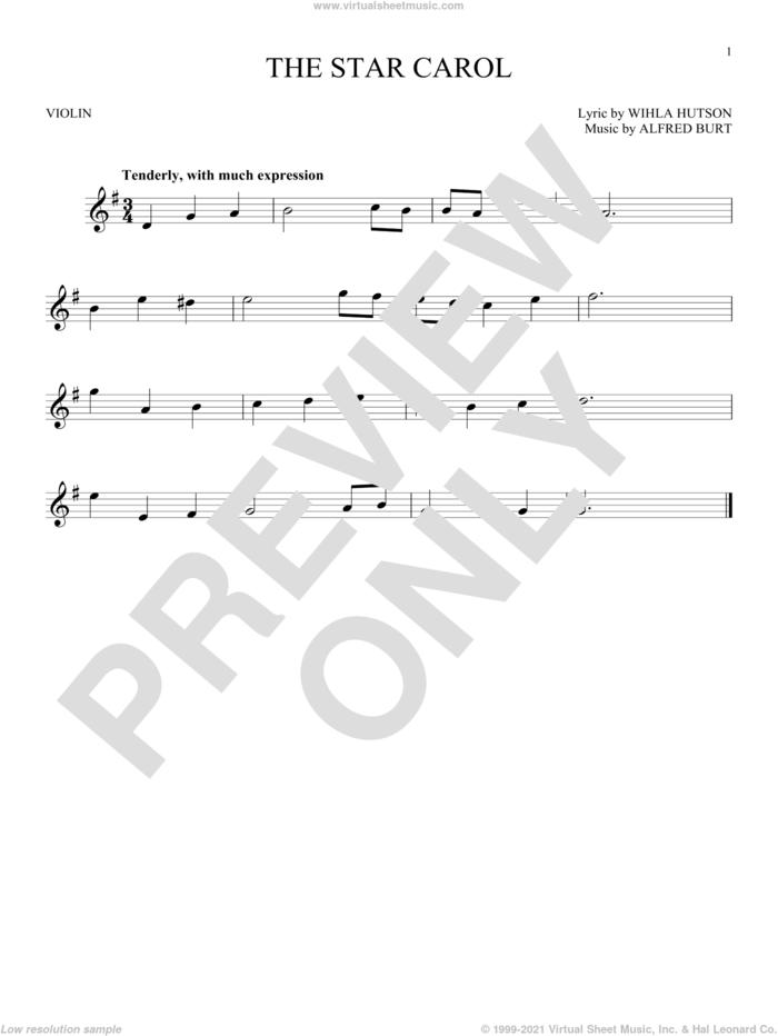 The Star Carol sheet music for violin solo by Alfred Burt and Wihla Hutson, intermediate skill level