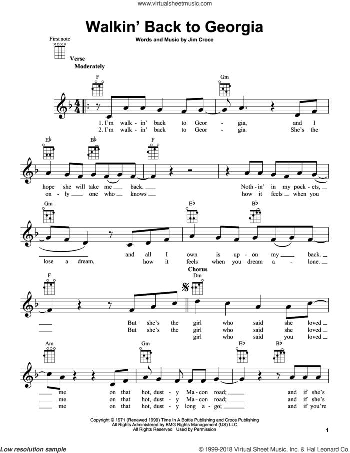 Walkin' Back To Georgia sheet music for ukulele by Jim Croce, intermediate skill level