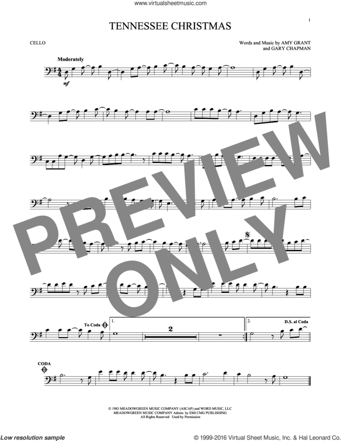 Tennessee Christmas sheet music for cello solo by Amy Grant and Gary Chapman, intermediate skill level
