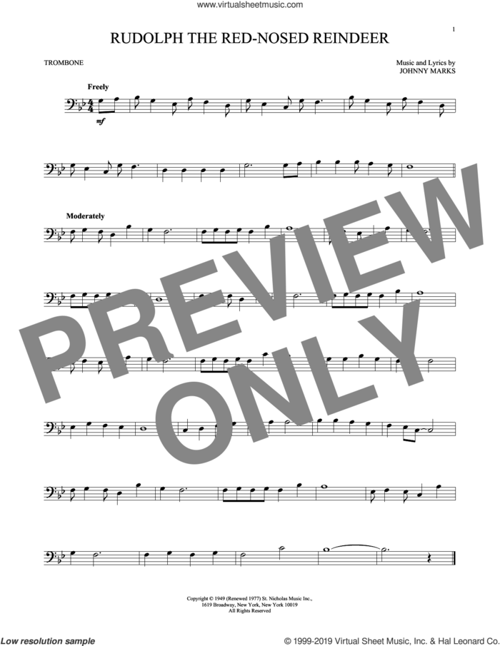 Rudolph The Red-Nosed Reindeer sheet music for trombone solo by Johnny Marks and John Denver, intermediate skill level