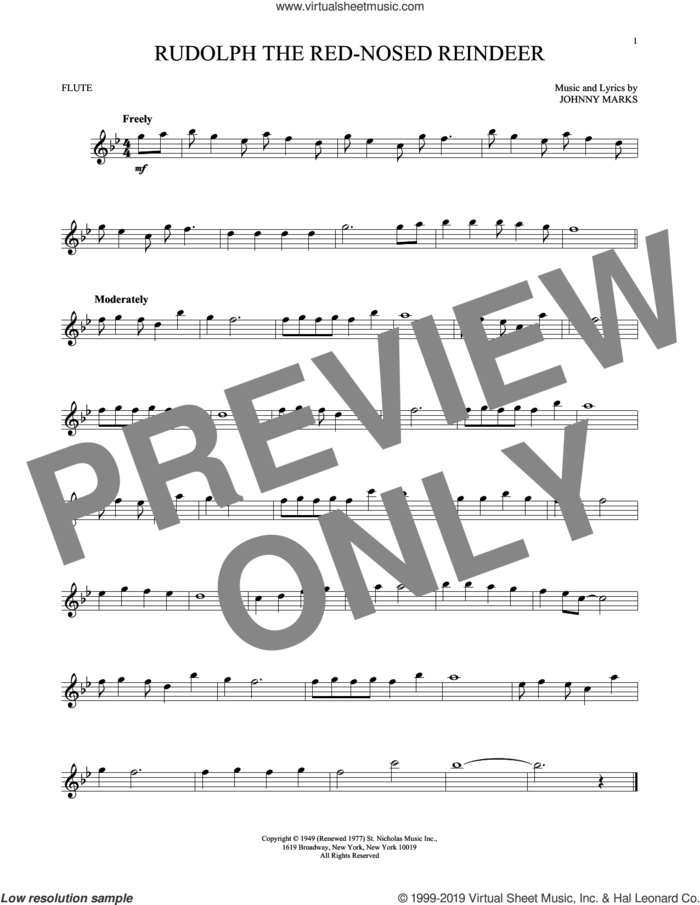 Rudolph The Red-Nosed Reindeer sheet music for flute solo by Johnny Marks and John Denver, intermediate skill level