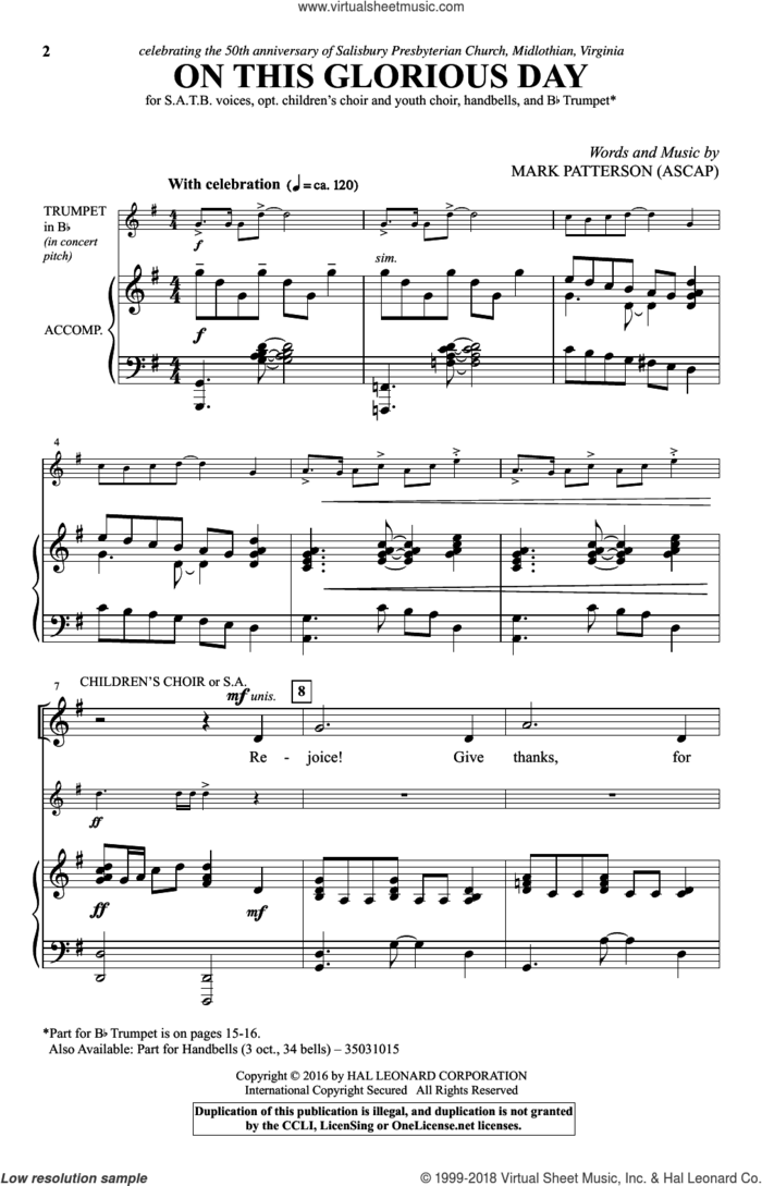 On This Glorious Day sheet music for choir by Mark Patterson, intermediate skill level