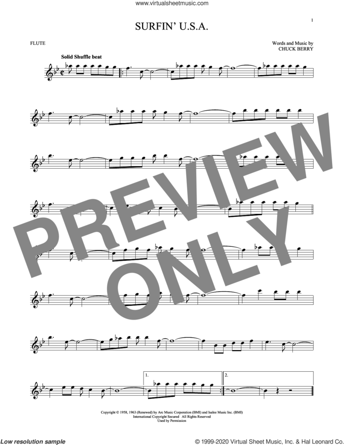 Surfin' U.S.A. sheet music for flute solo by The Beach Boys and Chuck Berry, intermediate skill level