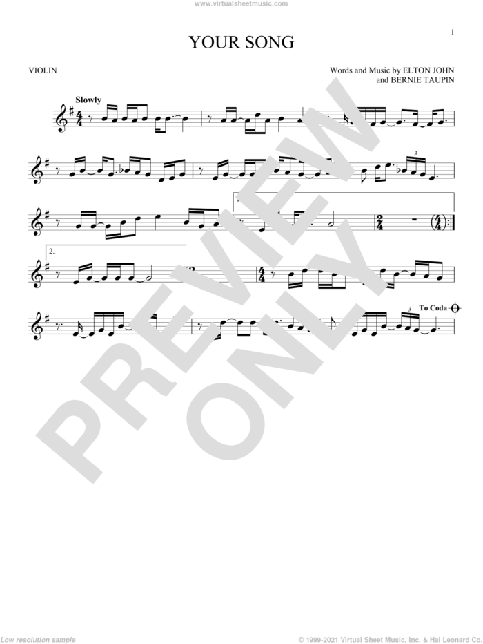 Your Song sheet music for violin solo by Elton John, Rod Stewart and Bernie Taupin, intermediate skill level