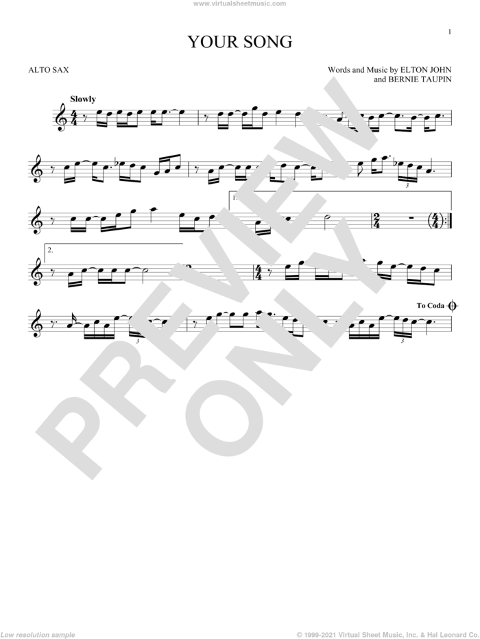 Your Song sheet music for alto saxophone solo by Elton John, Rod Stewart and Bernie Taupin, intermediate skill level