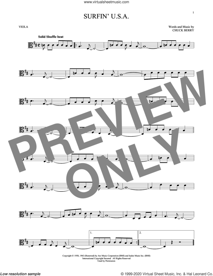 Surfin' U.S.A. sheet music for viola solo by The Beach Boys and Chuck Berry, intermediate skill level