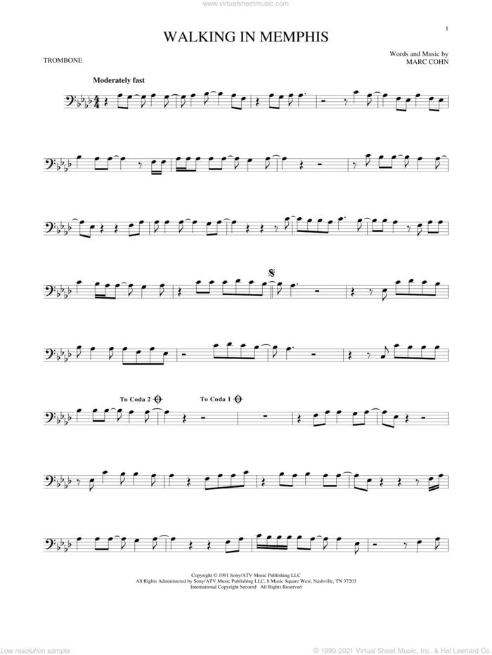 Walking In Memphis sheet music for trombone solo by Marc Cohn and Lonestar, intermediate skill level
