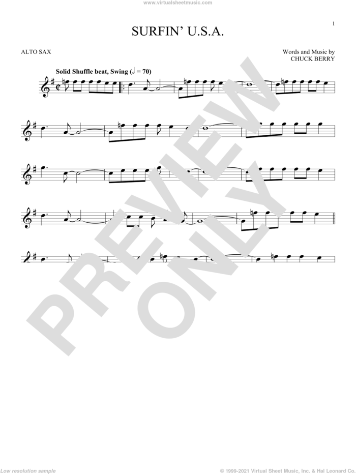 Surfin' U.S.A. sheet music for alto saxophone solo by The Beach Boys and Chuck Berry, intermediate skill level