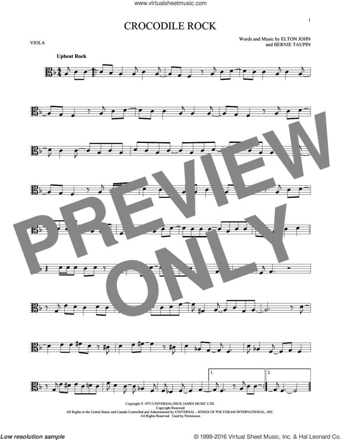 Crocodile Rock sheet music for viola solo by Elton John and Bernie Taupin, intermediate skill level
