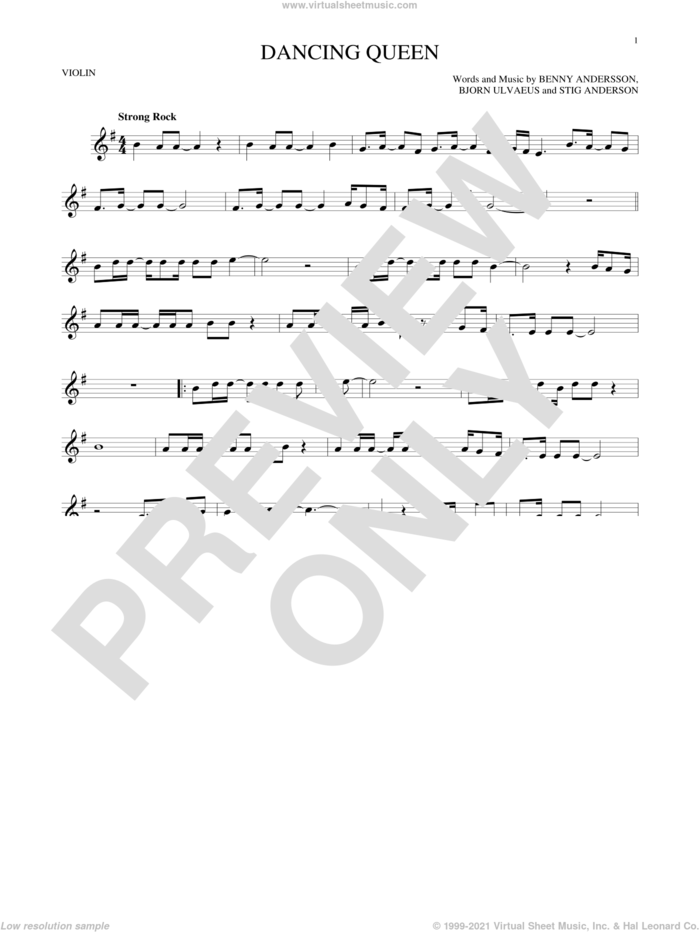 Dancing Queen sheet music for violin solo by ABBA, Benny Andersson, Bjorn Ulvaeus and Stig Anderson, intermediate skill level