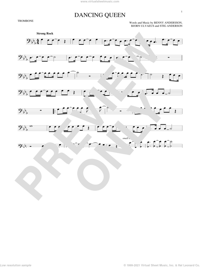 Dancing Queen sheet music for trombone solo by ABBA, Benny Andersson, Bjorn Ulvaeus and Stig Anderson, intermediate skill level