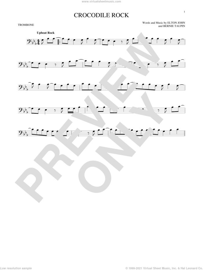 Crocodile Rock sheet music for trombone solo by Elton John and Bernie Taupin, intermediate skill level