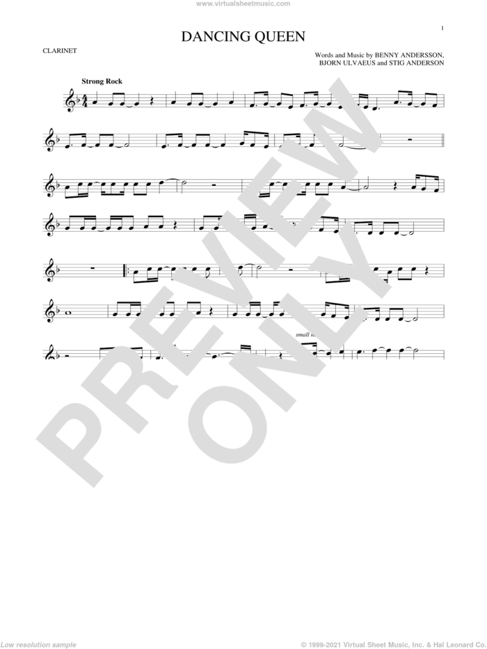 Dancing Queen sheet music for clarinet solo by ABBA, Benny Andersson, Bjorn Ulvaeus and Stig Anderson, intermediate skill level