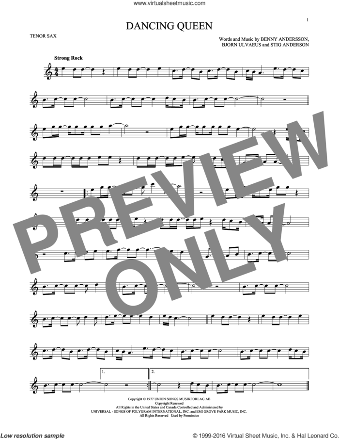 Dancing Queen sheet music for tenor saxophone solo by ABBA, Benny Andersson, Bjorn Ulvaeus and Stig Anderson, intermediate skill level