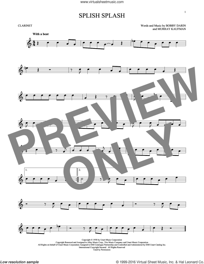 Splish Splash sheet music for clarinet solo by Bobby Darin and Murray Kaufman, intermediate skill level