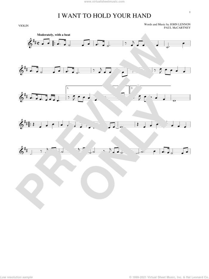 I Want To Hold Your Hand sheet music for violin solo by The Beatles, John Lennon and Paul McCartney, intermediate skill level