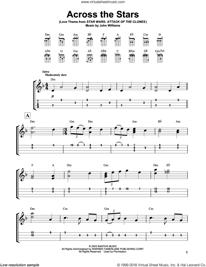 Across The Stars (from Star Wars: Attack of the Clones) sheet music for ukulele (easy tablature) (ukulele easy tab) by John Williams, intermediate skill level