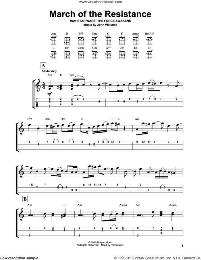 March Of The Resistance sheet music for ukulele (easy tablature) (ukulele easy tab) by John Williams, intermediate skill level
