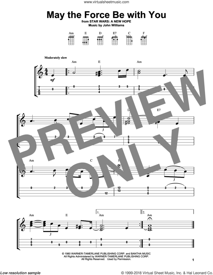 May The Force Be With You (from Star Wars: A New Hope) sheet music for ukulele (easy tablature) (ukulele easy tab) by John Williams, intermediate skill level