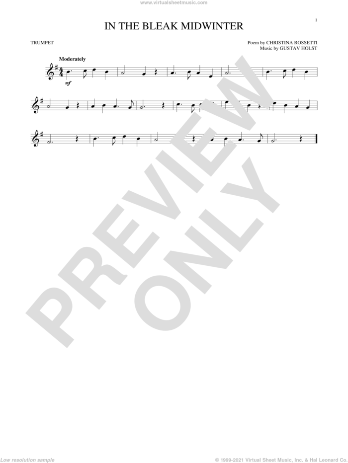 In The Bleak Midwinter sheet music for trumpet solo by Gustav Holst and Christina Rossetti, intermediate skill level