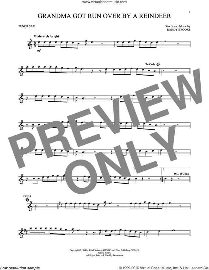 Grandma Got Run Over By A Reindeer sheet music for tenor saxophone solo by Randy Brooks, intermediate skill level
