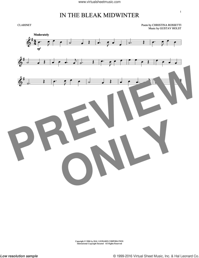 In The Bleak Midwinter sheet music for clarinet solo by Gustav Holst and Christina Rossetti, intermediate skill level