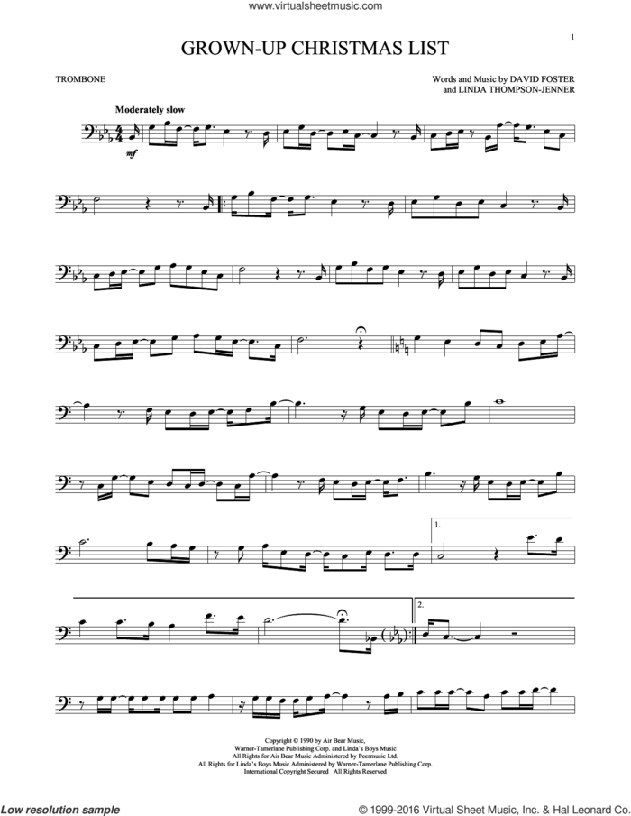 Grown-Up Christmas List sheet music for trombone solo by Amy Grant, David Foster and Linda Thompson-Jenner, intermediate skill level