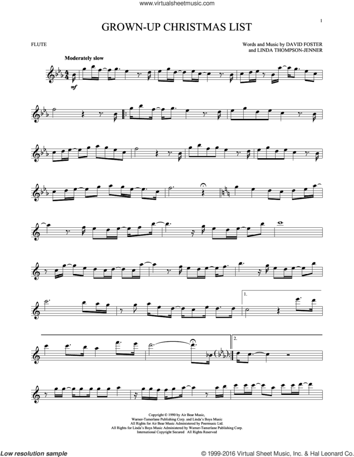 Grown-Up Christmas List sheet music for flute solo by Amy Grant, David Foster and Linda Thompson-Jenner, intermediate skill level