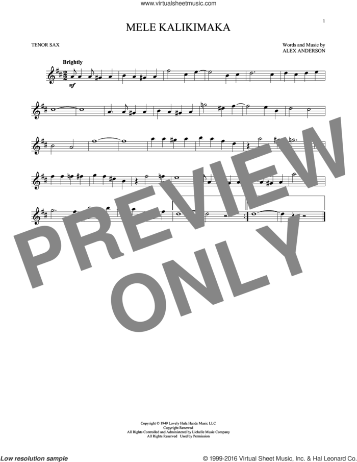 Mele Kalikimaka sheet music for tenor saxophone solo by Bing Crosby and R. Alex Anderson, intermediate skill level