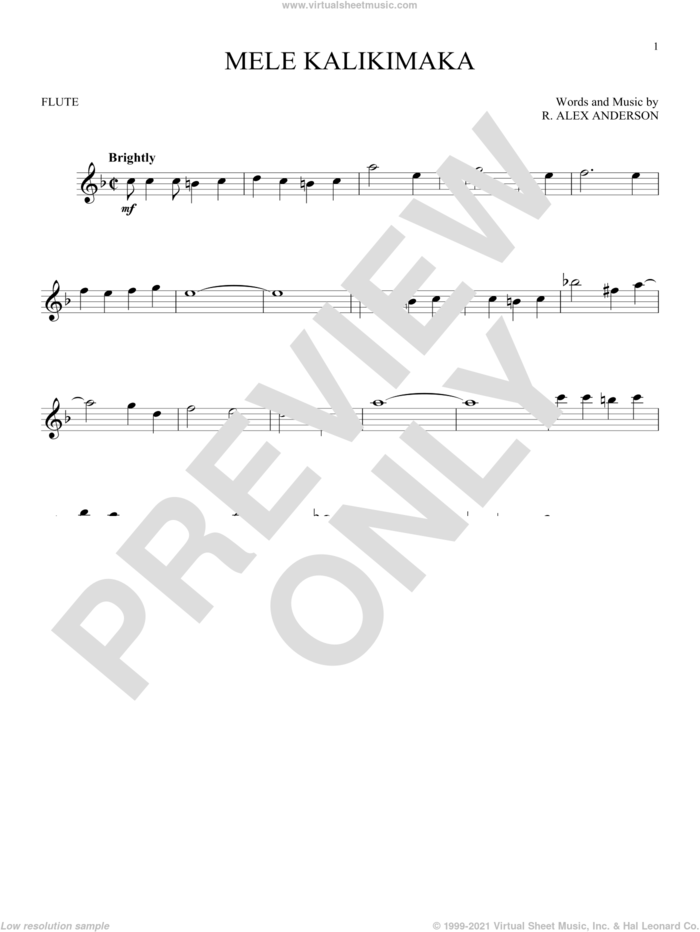 Mele Kalikimaka sheet music for flute solo by Bing Crosby and R. Alex Anderson, intermediate skill level