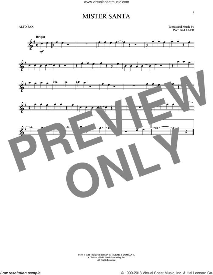 Mister Santa sheet music for alto saxophone solo by Amy Grant and Pat Ballard, intermediate skill level