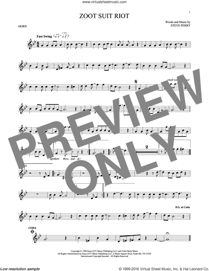 Zoot Suit Riot sheet music for horn solo by Cherry Poppin' Daddies and Steve Perry, intermediate skill level