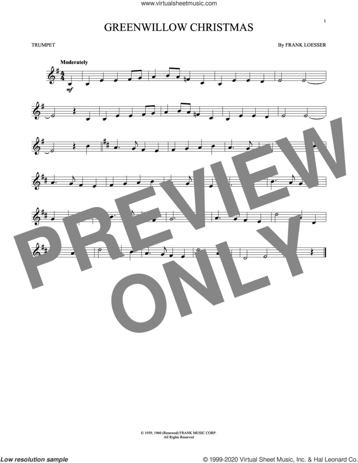 Greenwillow Christmas sheet music for trumpet solo by Frank Loesser, intermediate skill level